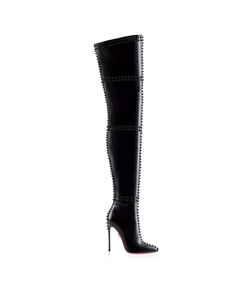 Ahran Black · Charlotte Luxury Boots · Luxury High Heel Pointy Boots · Ada de Angela  · Custom made · Made to measure · Luxury OTK Thigh High Heel Boots · Boots
