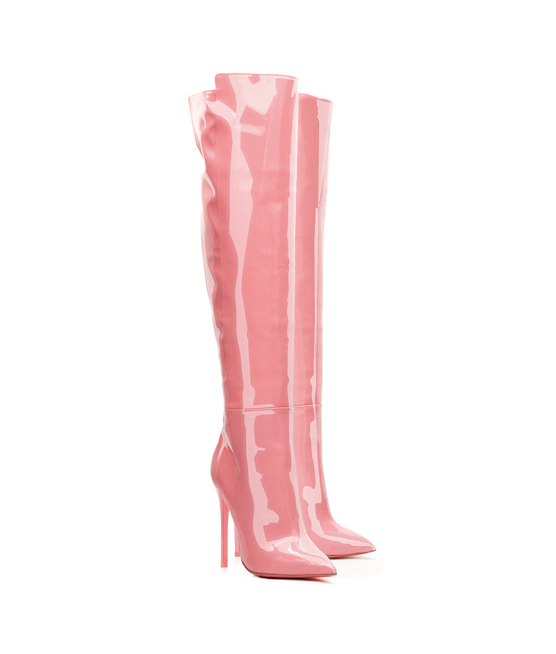 Bessel Pink Patent  · Charlotte Luxury High Heels Boots · Ada de Angela Boots  · High Heels Boots · Luxury Boots · Over Knee Boots · Stiletto · Leather Boots