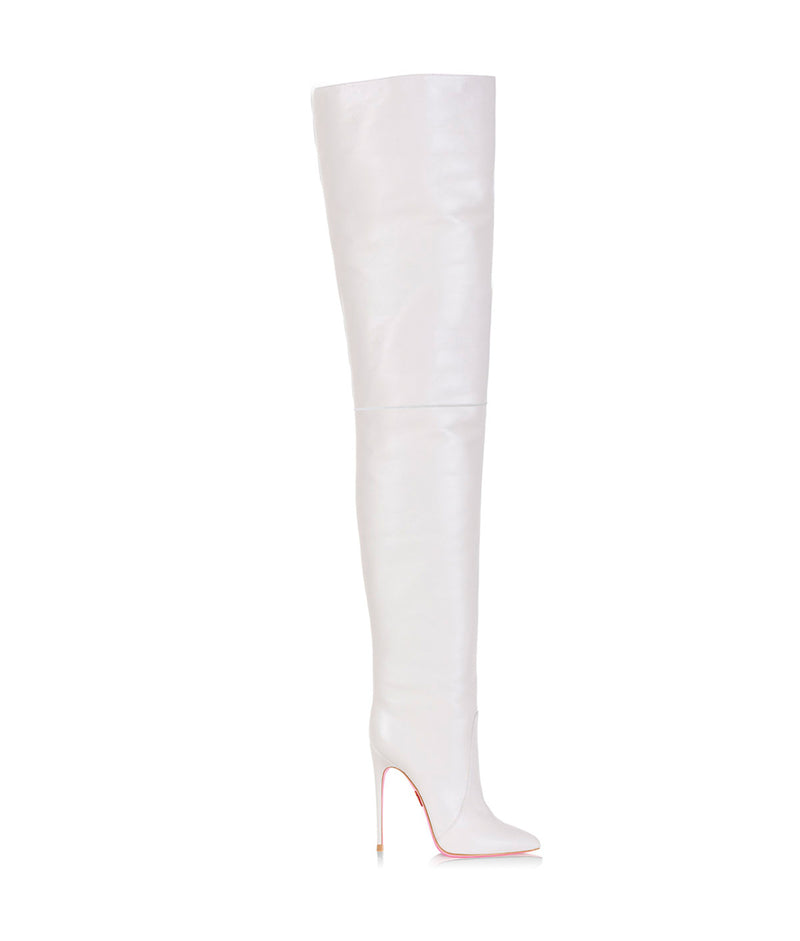 Bunda White  · Charlotte Luxury High Heels Boots · Ada de Angela Boots  · High Heels Boots · Luxury Boots · Thigh High  Knee Boots · Stiletto · Leather Boots
