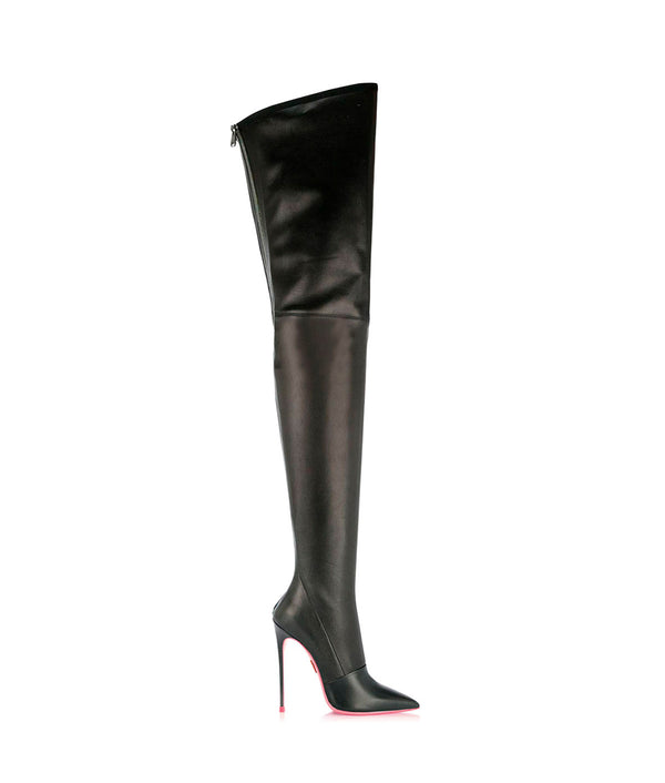 Cursa Black stretch  · Charlotte Luxury High Heels Boots · Ada de Angela Shoes · High Heels Boots · Luxury Boots · Knee High Boots · Stiletto · Leather Boots