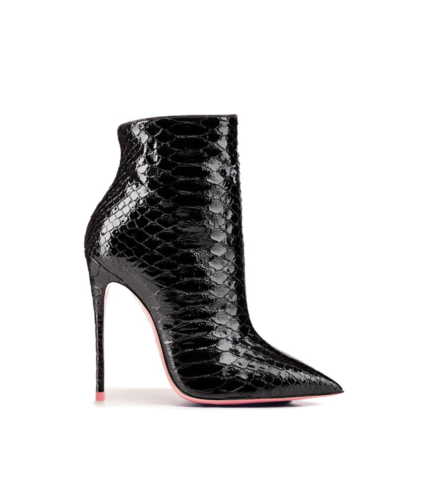 Denex Black Python  · Charlotte Luxury High Heels Boots · Ada de Angela Shoes · High Heels Boots · Luxury Boots · Knee High Boots · Stiletto · Leather Boots