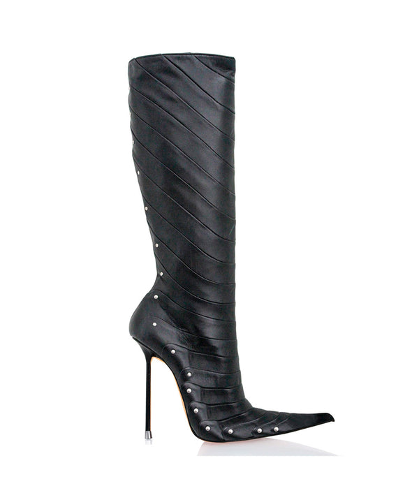 Doolas Black · Charlotte Luxury Boots · Luxury High Heel Pointy Boots · Di Marni · Custom made · Made to measure · Luxury Pointy High Heel Boots · Stiletto Boots