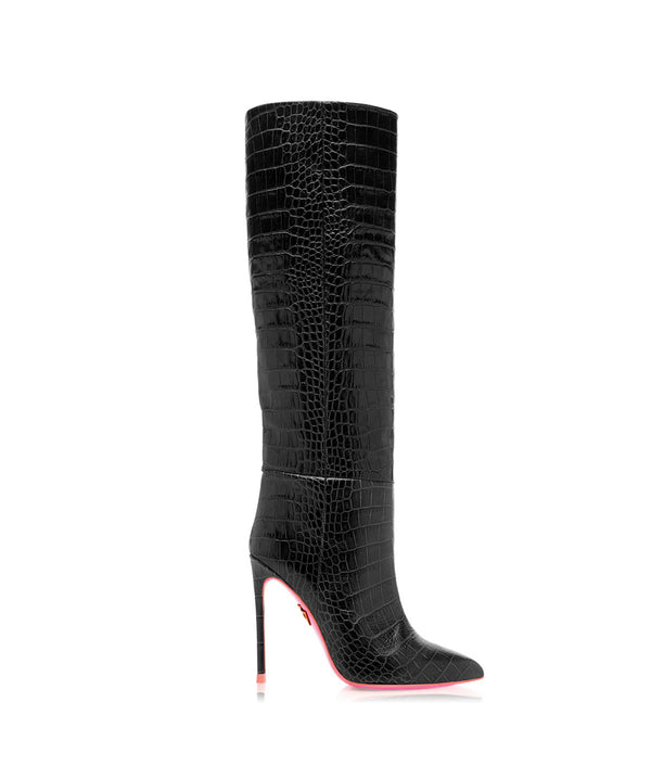 Dubhe Black Crocodile  · Charlotte Luxury High Heels Boots · Ada de Angela Shoes · High Heels Boots · Luxury Boots · Knee High Boots · Stiletto · Leather Boots