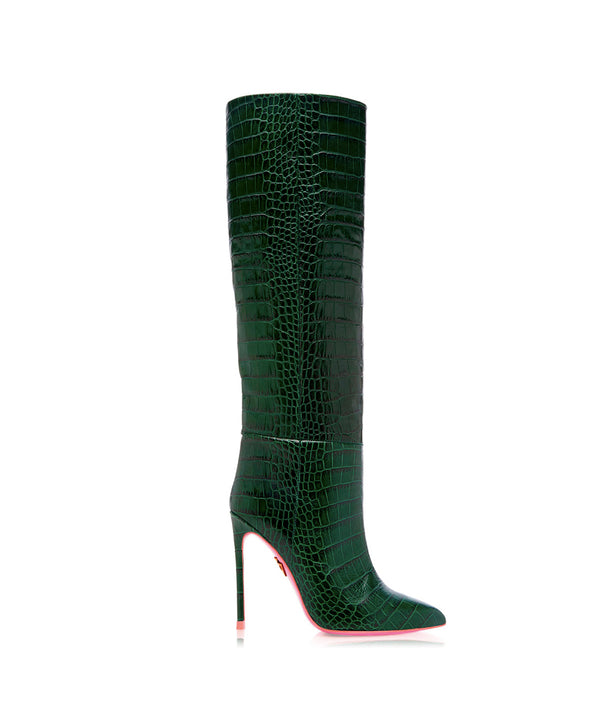 Dubhe Green Crocodile  · Charlotte Luxury High Heels Boots · Ada de Angela Shoes · High Heels Boots · Luxury Boots · Knee High Boots · Stiletto · Leather Boots