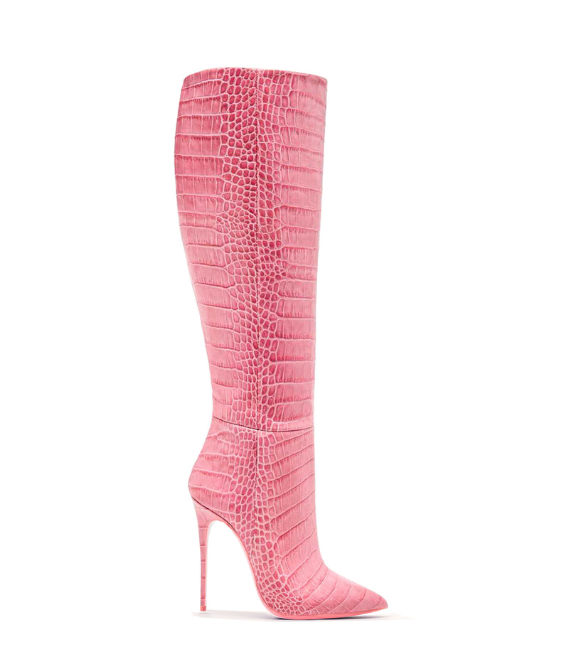 Dubhe Pink Alligator  · Charlotte Luxury High Heels Boots · Ada de Angela Shoes · High Heels Boots · Luxury Boots · Knee High Boots · Stiletto · Leather Boots