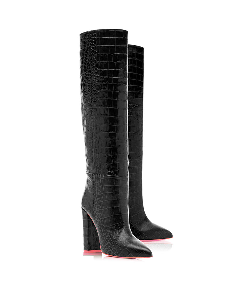 Elnath Black Crocodile  · Charlotte Luxury High Heels Boots · Ada de Angela Shoes · High Heels Boots · Luxury Boots · Knee High Boots · Stiletto · Leather Boots