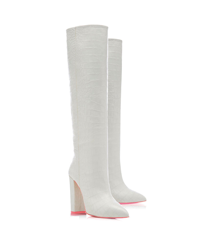 Elnath White Crocodile  · Charlotte Luxury High Heels Boots · Ada de Angela Shoes · High Heels Boots · Luxury Boots · Knee High Boots · Stiletto · Leather Boots