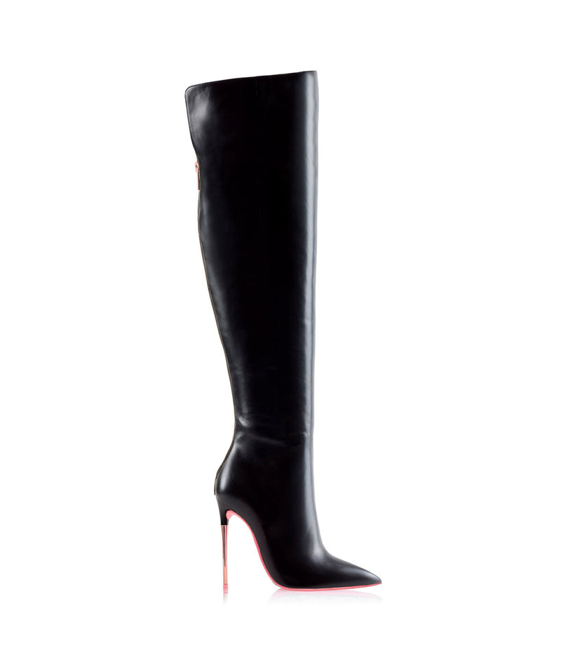 Mira  Black · Charlotte Luxury High Heels Boots · Ada de Angela Shoes · High Heels Boots · Luxury Boots · Over Knee High Boots · Stiletto · Leather Boots Metallic Heel Zipper Back