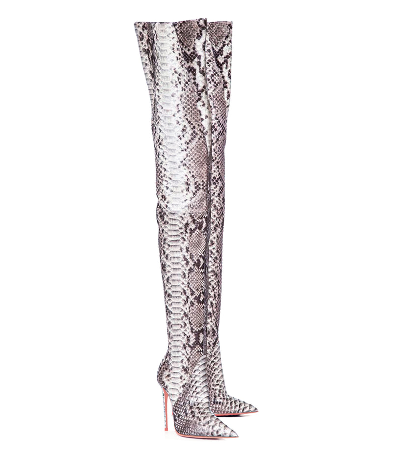 Rigel Natural Python · Charlotte Luxury High Heels Boots · Ada de Angela Boots  · High Heels Boots · Luxury Boots · Thigh High Boots · Stiletto · Leather Boots