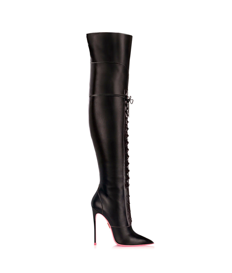 Sabika Black  · Charlotte Luxury High Heels Boots · Ada de Angela Boots  · High Heels Boots · Luxury Boots · Over Knee Boots · Stiletto · Leather Boots