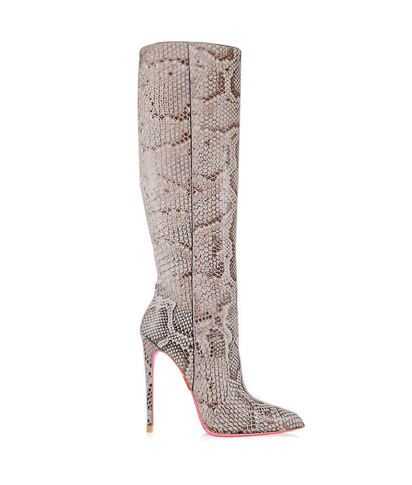 Spica Python · Charlotte Luxury High Heels Boots · Ada de Angela Shoes · High Heels Boots · Luxury Boots · Knee High Boots · Stiletto · Leather Boots