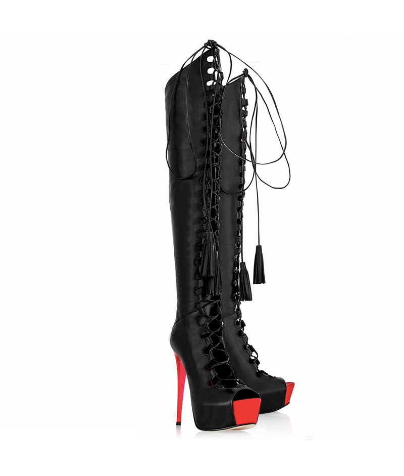 Symass Blak &  Red · Cq Couture · Charlotte Luxury High Heels Boots · Luxury High heel Platform Boots · Platform Over Knee Boots · Luxury High Heels Boots made in Italy