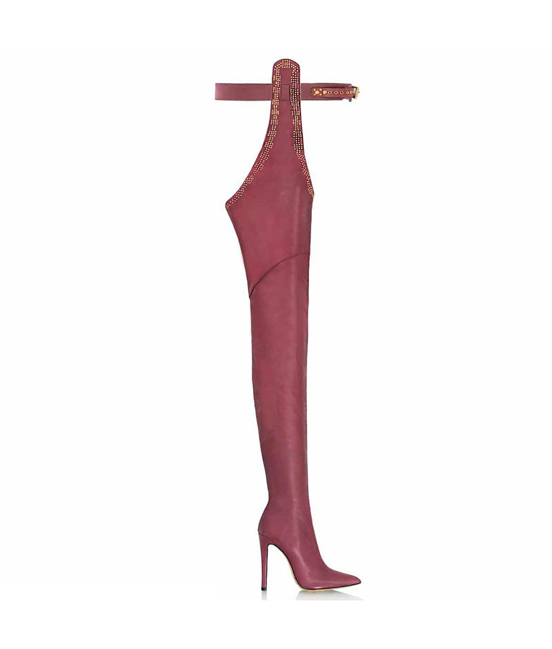 Triana Aubergine · Cq Couture · Charlotte Luxury High Heels Boots · Luxury High heel Fetish Boots ·  Pointed Chap Thigh high Boots · Luxury High Heels Boots made in Italy