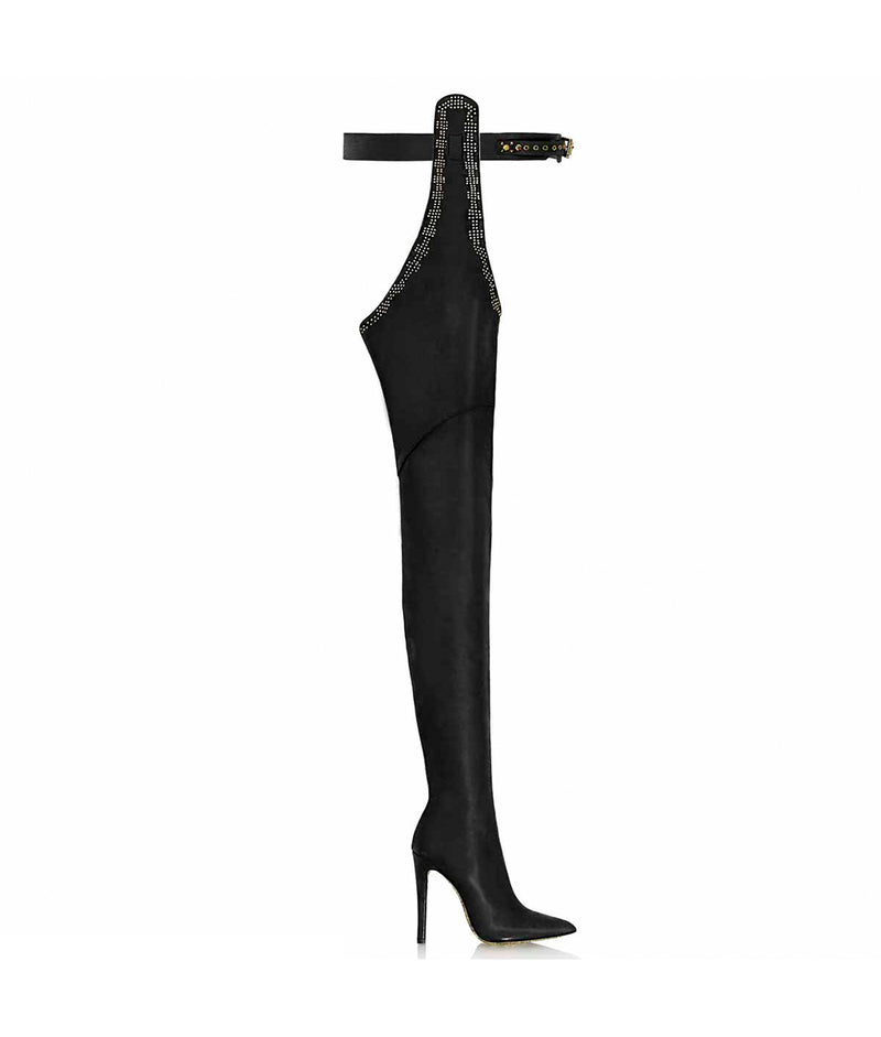 Triana Black · Cq Couture · Charlotte Luxury High Heels Boots · Luxury High heel Fetish Boots ·  Pointed Chap Thigh high Boots · Luxury High Heels Boots made in Italy