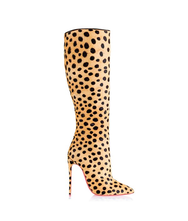 Vega Cheetah Ponny Hair  · Charlotte Luxury High Heels Knee High Boots · Ada de Angela Shoes · High Heels Boots · Luxury Boots · Knee High Boots · Stiletto · Leather Boots