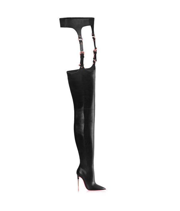 Nashira  Black · Charlotte Luxury High Heels Boots · Ada de Angela Shoes · High Heels Boots · Luxury Boots · Over Knee High Boots · Stiletto · Leather Boots Crotch Thigh Strap Boots Metallic Heel