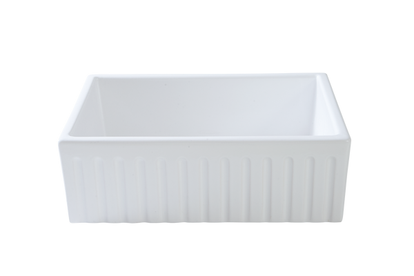 Fluted Apron Sink - 733 x 500 x 250mm & CHROME WASTE PLUG