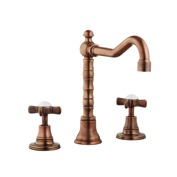 Art Deco Bathroom Taps - Low Level Spout - Porcelain Levers