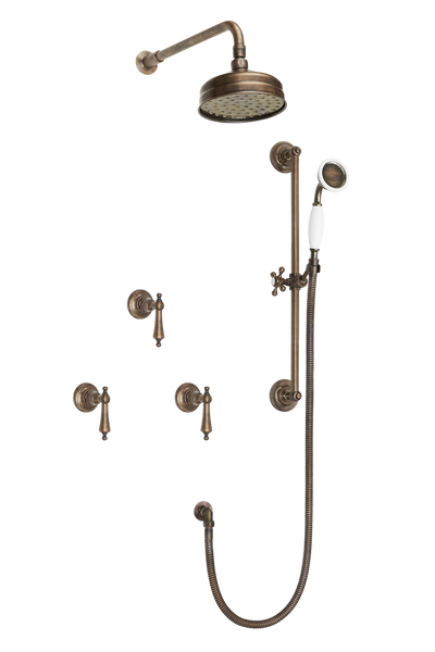 Art Deco Shower System With Arm Rose Diverter & Slide Bar Handshower - Porcelain Levers