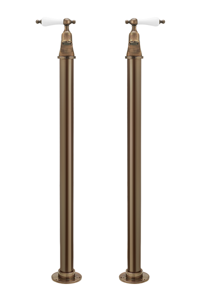 Vintage Bath Pillar Taps On Pipe Stands - Cross Handles