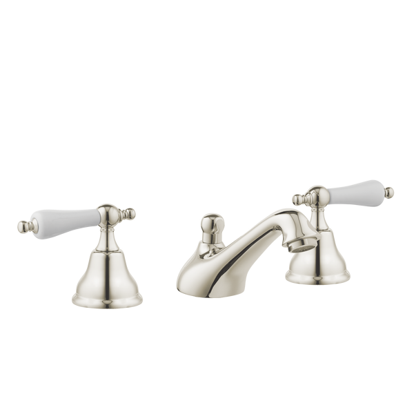 Art Deco Bathroom Taps- Low Level Spout - Porcelain Lever