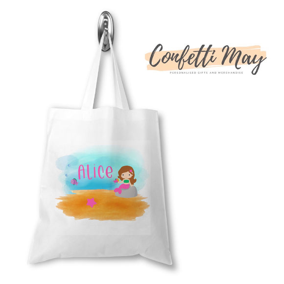 Personalised  Library Bag Tote - Mermaid
