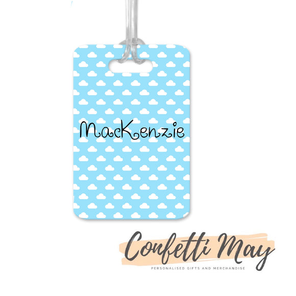 Personalised Aluminium Bag Tag - Clouds