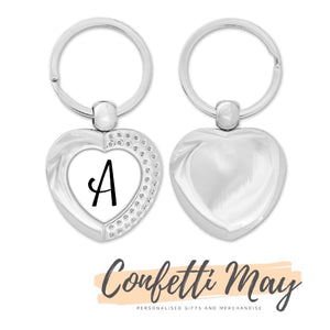 Single Monogram Heart Keychain