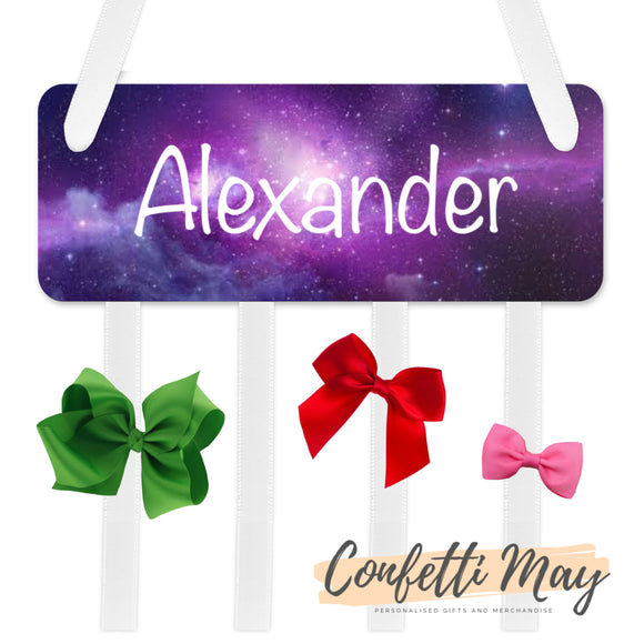 Personalised Bow / Hair accessories Holder - Galaxy