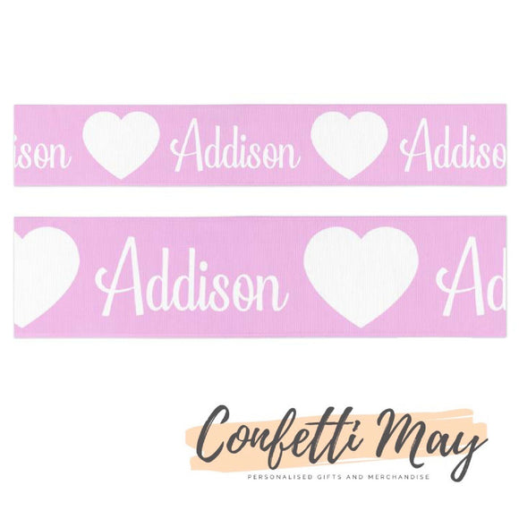 Personalised pink love heart ribbon
