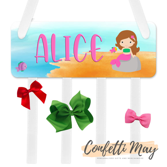 Personalised Bow / Hair accessories Holder - Mermaid