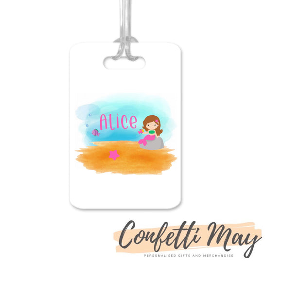 Personalised Aluminium Bag Tag - Mermaid