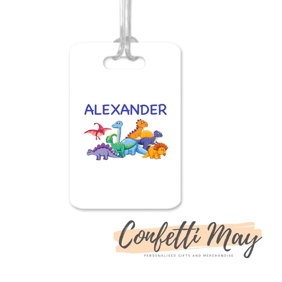 Personalised Aluminium Bag Tag - Dinosaur