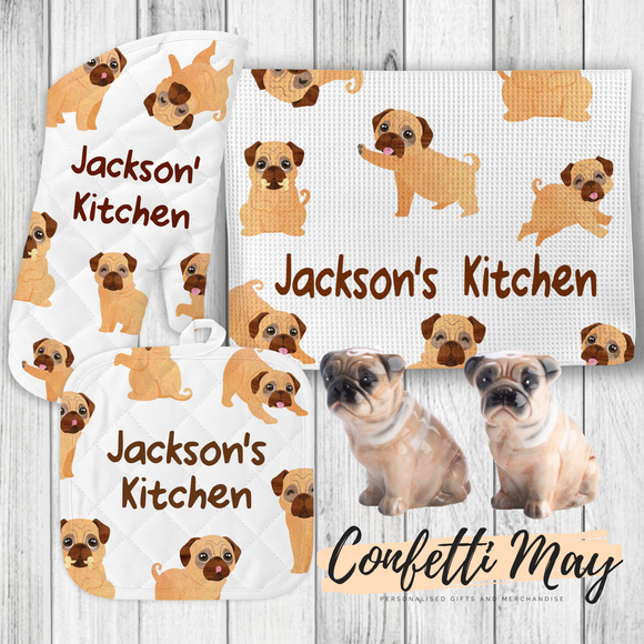 Personalised Kitchenware Gift Set - Pug