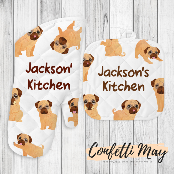 Personalised Oven Mitt and Pot Holder Set - Pug