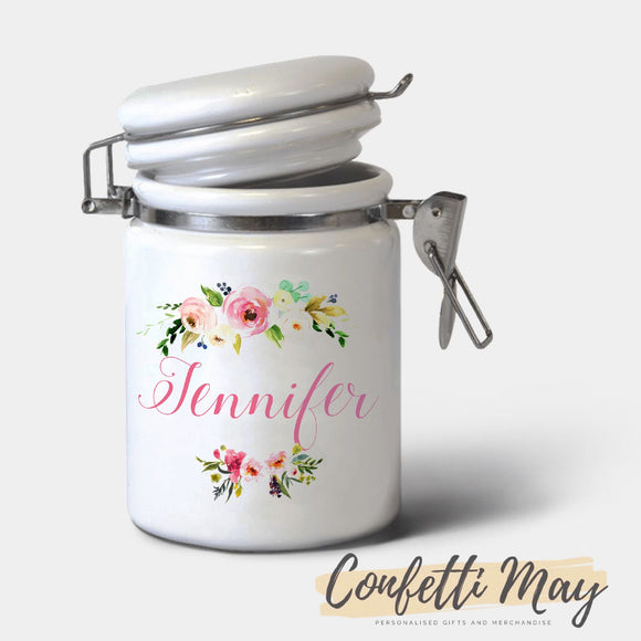 Personalised Ceramic Jar - Floral