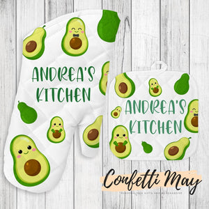 Personalised Oven Mitt and Pot Holder Set - Avocado