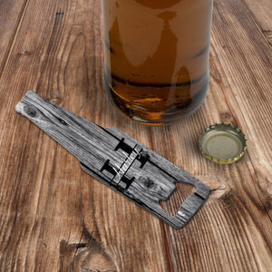Personalised beer shaped bottle opener
