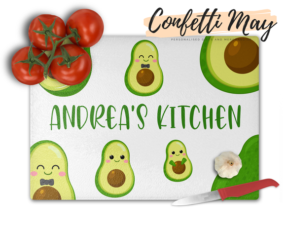 Personalised Glass Chopping Board - Avocado