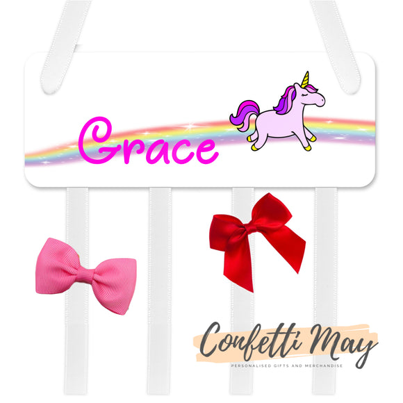 Personalised Bow / Hair accessories Holder - Unicorn