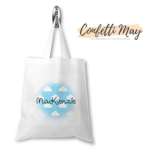 Personalised Library Bag - Clouds
