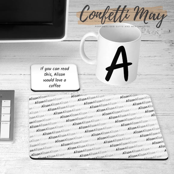 Personalised Office Set - Mug, Coaster and Mousepad