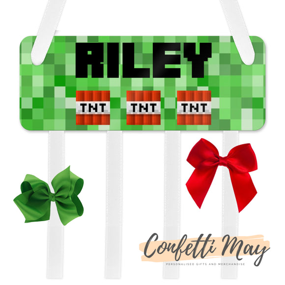 Personalised Bow / Hair accessories Holder - Minecraft