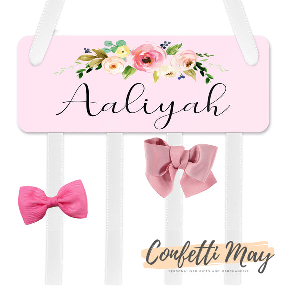 Personalised Bow / Hair accessories Holder - Pink Floral