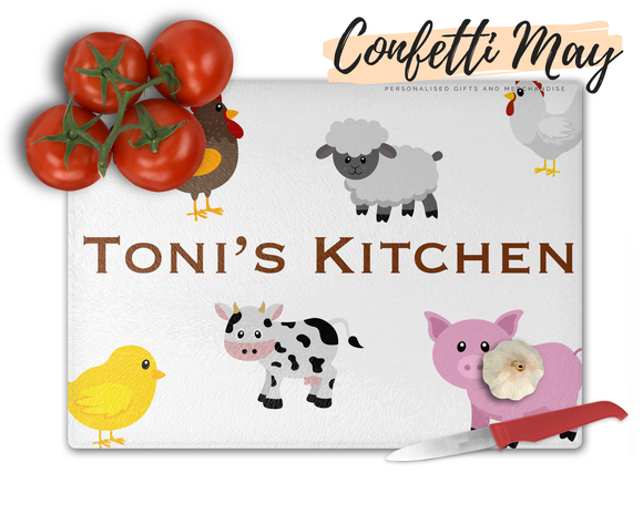Personalised Glass Chopping Board - Farm Animals