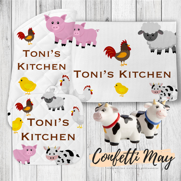 Personalised Kitchenware Gift Set - Farm Animals