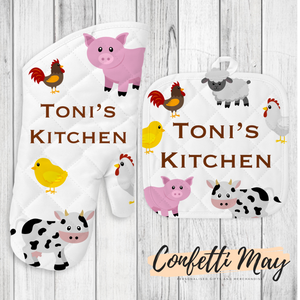 Personalised Oven Mitt and Pot Holder Set - Farm Animals