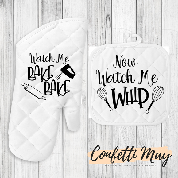 Oven Mitt and Pot Holder Set - Watch me Whip