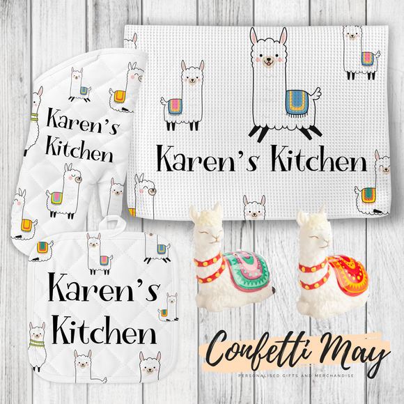 Personalised Kitchenware Gift Set - Llama