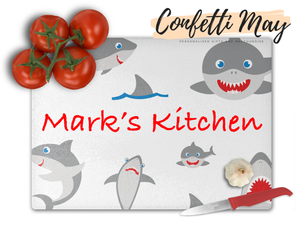 Personalised Glass Chopping Board - Shark